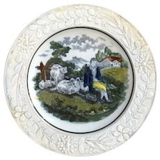 19th Century Pearlware Childs Plate, Shepherd Boy and Sheep, by Samuel Moore And Co, Circa 1820 AF