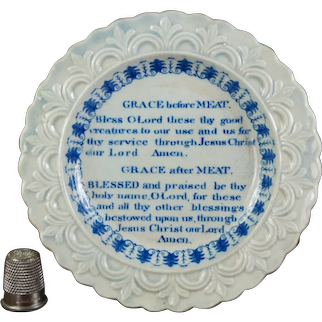 19th Century Miniature Staffordshire Children's Plate, Grace Before Meat, Blue and White Transferware C 1820