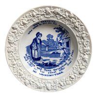 Antique Regency Childrens Plate, The Present, Grandmother, Granny, Doll, Toy Nursery Ware, Blue and White Transferware, Circa 1820 AF