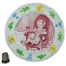 Antique 19th Century Staffordshire Children's Plate, Our Early Days Grandfather, Nurseryware C  1830