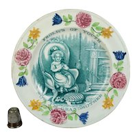 Antique 19th Century Davenport Staffordshire Children's Plate, Grandmother, Frolics of Youth, Nurseryware C 1830, Georgian