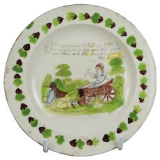 RARE 19th Century My Brother, Miniature Toy Plate, Children's Pottery Transferware C 1825