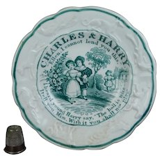 RARE Small 19th Century Childs Nursery Plate, Transferware, Charles and Harry, Ellen, Children Playing, Dogs Horses Birds Circa 1830