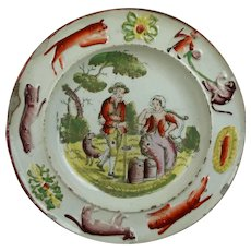 19th Century Childs Plate, Milk Maid, Country Scene, Farming, Shepherd, Nursery, Cat, Dog, Monkey, Border Circa 1830 Transferware