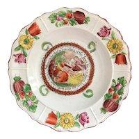 RARE 19th Century Creamware Nursery Plate, Nativity Scene, Birth Of Christ, Transferware C 1830