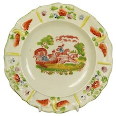 Early 19th Century Staffordshire Childs Nursery Ware Plate, Horse And Sleigh, Georgian,  Circa 1830