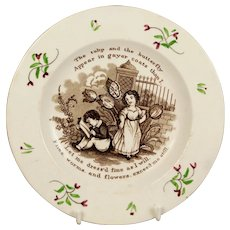 RARE Early Childs Nursery Ware Plate by Pountney & Allies, Tulips And Butterfly Plate, Isaac Watts Circa 1830