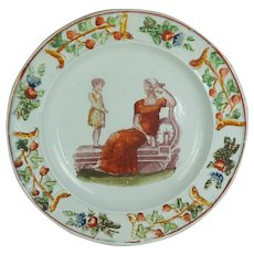 Rare 19th Century Regency Childs Nursery Plate, Adam Buck Mother And Child, Circa 1820 Classical