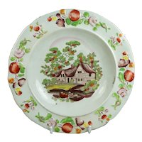 19th Century Staffordshire Childs Plate, Nursery Ware Dish, Cottage Scene Bowl, Transferware Circa 1830