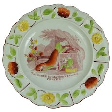 Regency period Childs Plate, Virtue - The Order For Morning And Evening Prayer,  Nursery Ware C 1820 AF