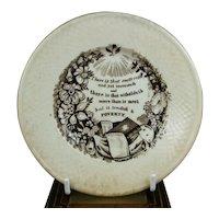 19th Century Miniature Proverbs Plate, Children's Pottery, Motto Nursery Ware, English C 1830