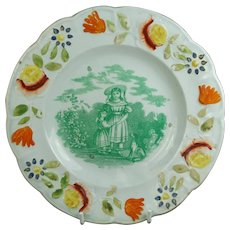 19th Century My Sister, Nursery Ware Plate with Dog, Children's Pottery, Transferware C 1830, Gift For Sister,