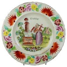 Beautiful 19th Century Staffordshire Childrens Plate, Faith, Glory to God, Circa 1820, Folk Art