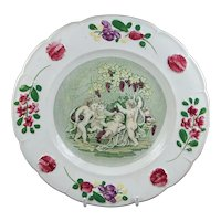 RARE 19th Century Childrens Nursery Ware Plate, Bacchanalian Cherub, Bacchus Wine, Grapes C 1830