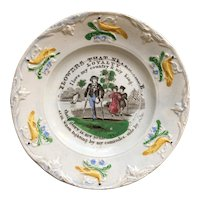 19th Century Staffordshire Childs Nursery Plate, Flowers That Never Fade, Loyalty, Circa 1830