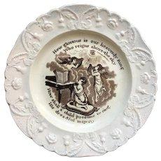 RARE 19th Century Nursery Plate, Virtue - Angels, Praise To God, Isaac Watts Hymn,  C 1830