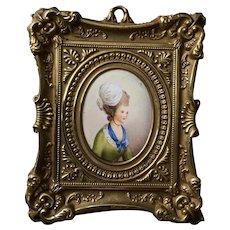 19th Century French Portrait Miniature, Enamel on Copper, Ornate Brass Frame C 1850