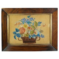 Antique 19th Century SMALL Watercolor Painting On Velvet, Theorem Flowers, Folk Art, Primitive Circa 1860's