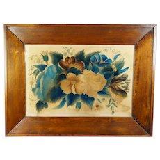 Antique 19th Century Watercolor Theorem Painting On Velvet, Flowers, Folk Art, Primitive Circa 1830