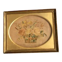 18th Century Georgian Silk Needlework, Floral basket, Superb Original Frame, English Circa 1780, Federal Period