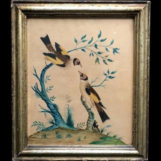 19th Century British Naïve School, Watercolor Painting, Folk Art Goldfinch Bird, Georgian C 1800