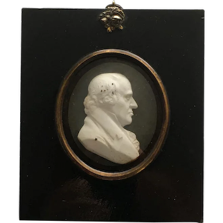 John Henning Glass Paste Portrait Medallion of Lord Robertson, Scottish Lawyer, Gifted Inscription to Lord Frederick Campbell 1810