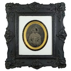 19th Century Set of 5 x Victorian Ambrotype Photographs in Original Frames,  Same Family Children, Mother Circa 1858, Civil War Era