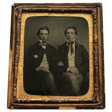 19th Century Early Six Plate Ambrotype Photograph, Two Handsome Young Men Friends, Linked Arms Together C 1850s