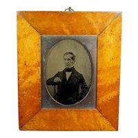 19th Century Quarter Plate Ambrotype Photograph Victorian Gentleman, Maple Frame Circa 1855