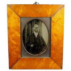 19th Century Quarter Plate Ambrotype Photograph Victorian Preacher, Reverend, Clergyman, Maple Frame Circa 1855