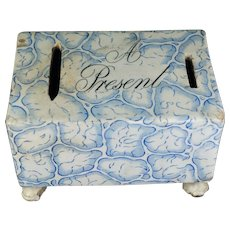 Rare 19th Century Transferware Brick Shaped Money Box, 'A Present', Still Bank Circa 1830 AF