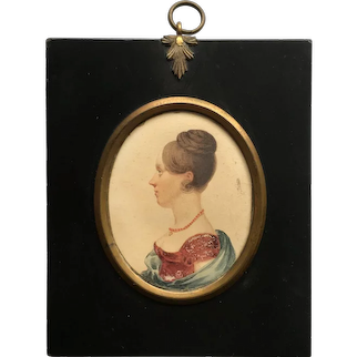 19th Century Regency Portrait Miniature, Young Lady Red Dress, and Shawl, Circa 1820