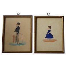 19th Century Folk Art Portrait Pair, English School, Cricket Boy and Girl Blue Dress, 1850