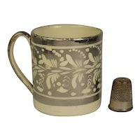 Regency Miniature Staffordshire Childrens Mug, Toy Size Silver Luster Cup, Circa 1820