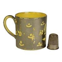 19th Century Miniature Staffordshire Canary Yellow Childs Mug, Toy Size Yellow Ware Silver Luster Mug, Circa 1820