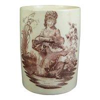 Rare 18th Century English Creamware Mug,  Romantic Lovers, Purple Puce Transfer printed, Circa 1780