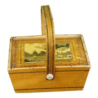 Regency Child's Sewing Pannier, Tunbridge Ware Sewing Box, Whitewood Basket, Painted Ware, English, Circa 1810