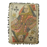 RARE Victorian Playing Card Pin Cushion, Pin Keep, Queen of Clubs Pincushion,  Circa 1880