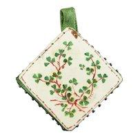 Victorian Irish Pin Cushion, Hand Painted Clover Leaf Pin Keep, Circa 1890