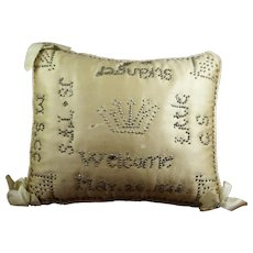 Antique Victorian Christening Pillow, Layette Pin Cushion, Birth Cushion, Welcome Little Stranger, Dated 1844