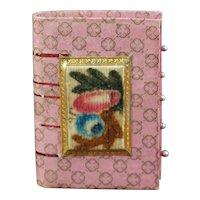Rare Book Form Pin Cushion Emery, Theorem on Velvet, Pin Keep, English, Circa 1820