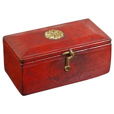 Antique Regency Child's Miniature Sewing Box, Red Leather, Georgian Circa 1820