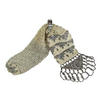 Antique Victorian Purse, Cream Silk Crochet and Fancy Cut Steel Beadwork, Clouds, Circa 1860