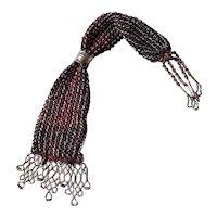 Antique 19th Century Purse, Victorian Red & Purple Silk Miser's Purse, Cut Steel Beads, Circa 1860