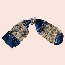 Antique Georgian Knitted Purse, Fine Knit Cut Steel Miser's Purse, Circa 1830