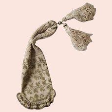 Antique Victorian Purse, Crochet, Cream and Gold thread,  C 1850