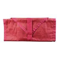 Scarce 19th Century Crimson Silk Sewing Hussif, Huswif, Housewife, Circa 1850
