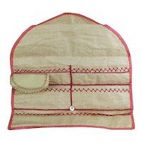 Scarce 19th Century Sewing Hussif, Huswif, Housewife, Glazed Linen, Circa 1850