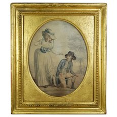 Rare 18th Century Stipple Engraving, Risque Humour, Gilt Frame Circa 1780s, Georgian Shoes, Fashion