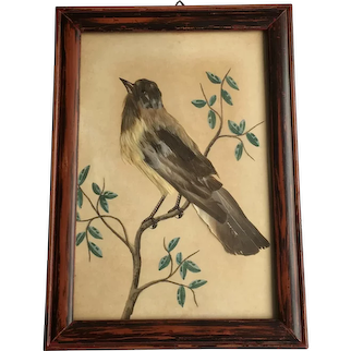 Antique 19th century Bird Feather Picture, Small Size 1870
